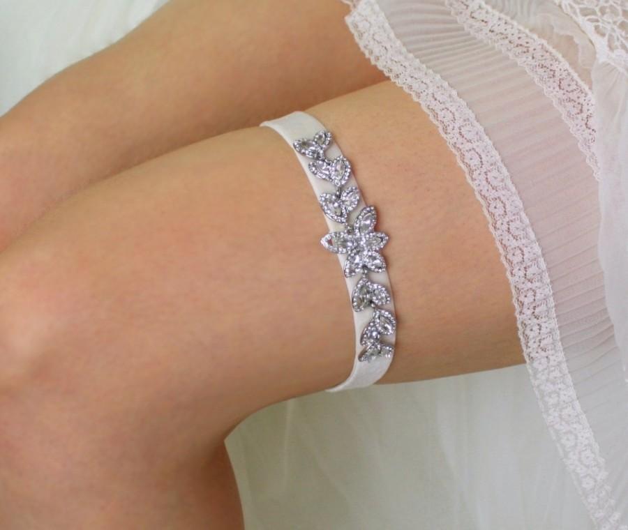 """Wedding - Wedding Garter, Bridal Garter Belt with Crystals - Rhinestone Wedding Garter - Ivory Garter, Off White Garter, White Garter - """"Victoria"""""""