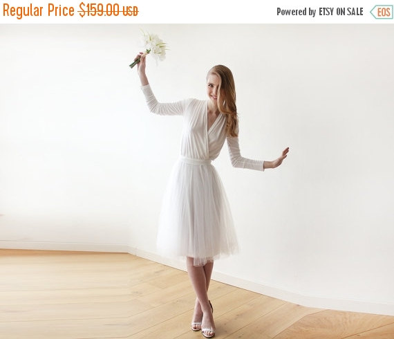 Wedding - Oscar SALE Ivory midi length tulle dress with long sleeves , Reception ivory tulle midi dress