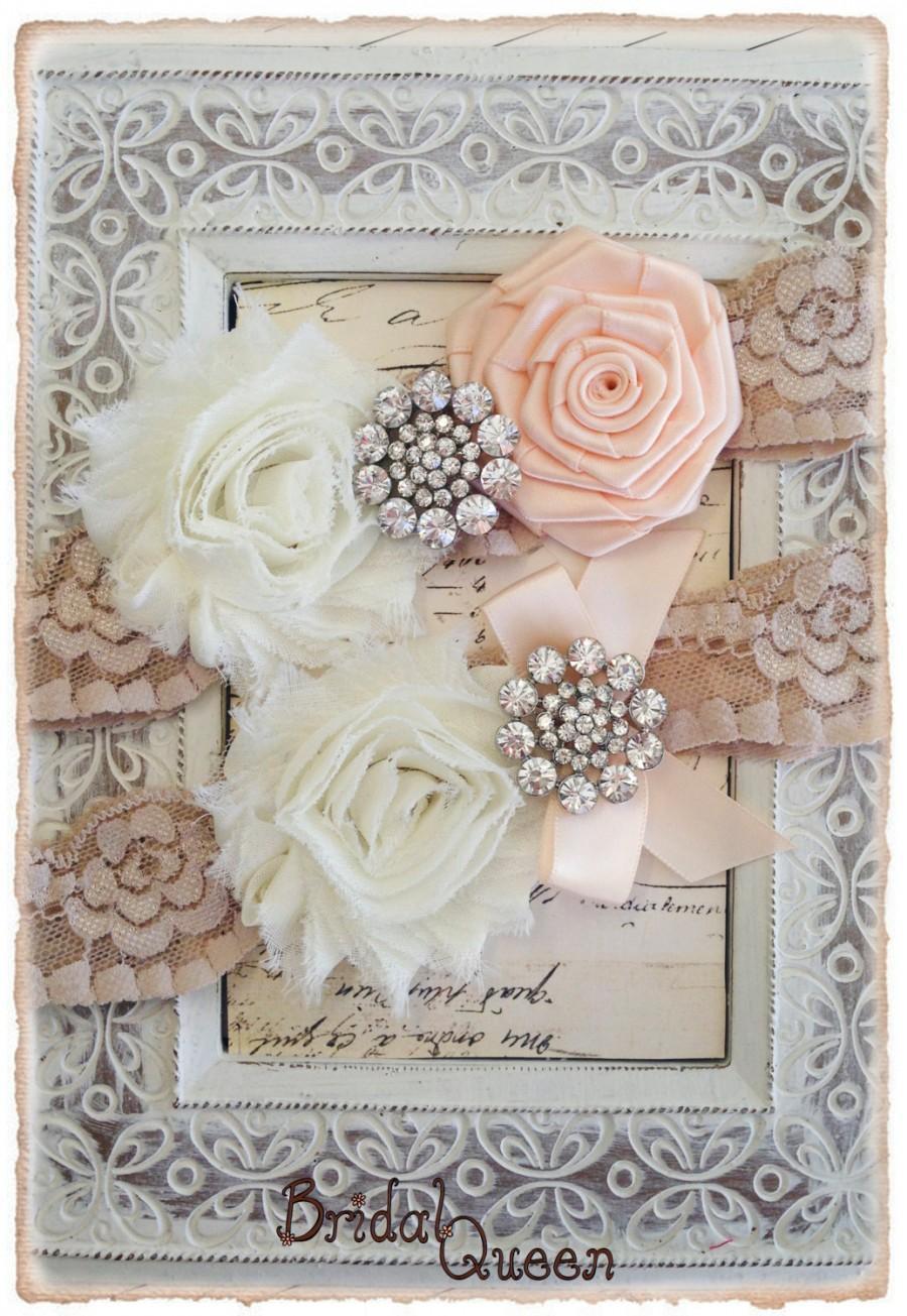 Wedding - Lace Wedding Garter Set,  Bridal Garter Set, Lace Wedding garter Set, Lace Garter Set - Champagne Lace, ivory and Nude  Flowers