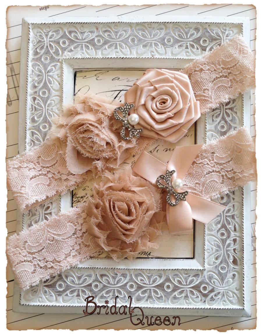 Wedding - Bridal Garter, Blush Lace Bridal Garter Set, Lace Garter Set, Lace Wedding Garter Set - Blush Lace, White and Blush Pink Flowers