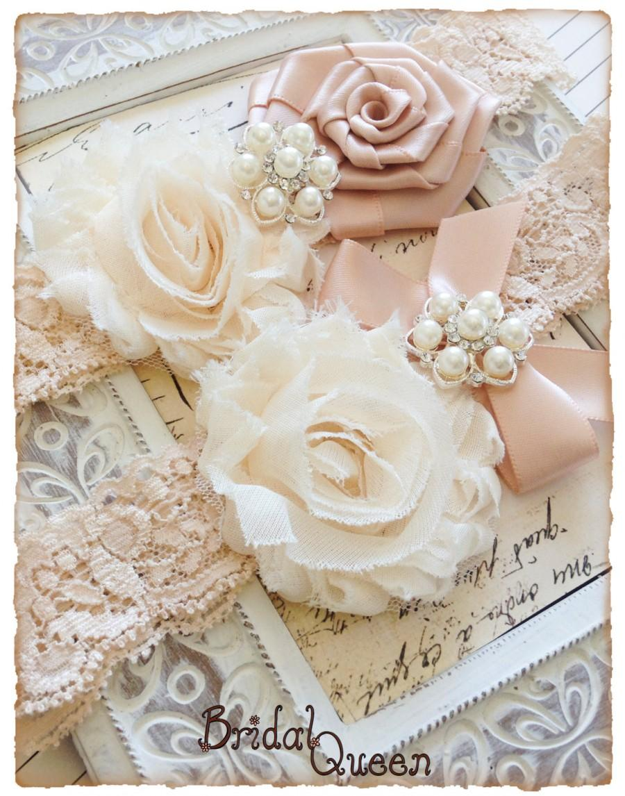 Lace Wedding Garter Set Cream Bridal Garters Vintage