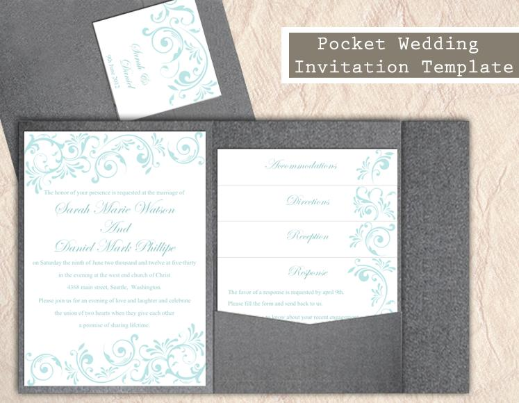 Pocket Wedding Invitation Template Set DIY Instant Download EDITABLE Word  File Blue Invitation Printable Elegant Aqua Wedding Invitations