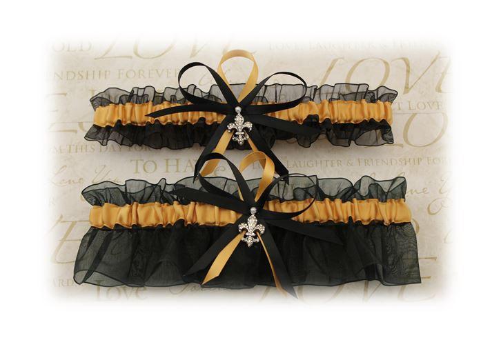 Wedding - Sheer Black and Gold Wedding Garter Set with Fleur De Lis Charms