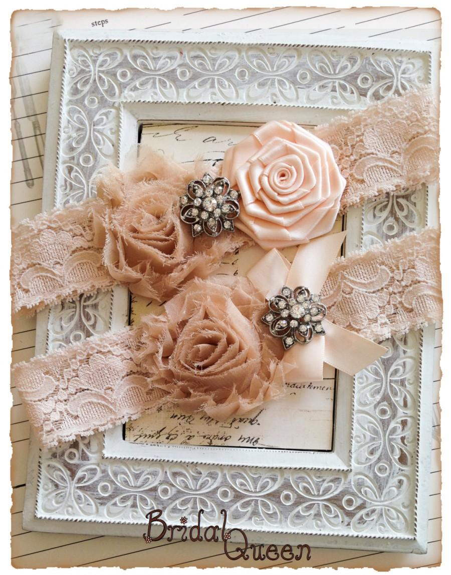 Wedding - Lace Wedding Garter Set, Bridal garter Set, Vintage Garter, Shabby Chic Garters - Blush Lace, Champagne and Nude Flower Garter Set