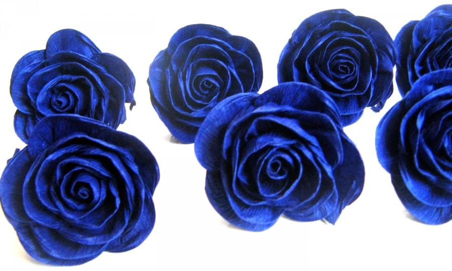 Giant Royal Blue Navy Crepe Paper Roses Centerpiece Bridal Flower Wedding Bouque Cake Topper Baby Shower Decor Beach Blu