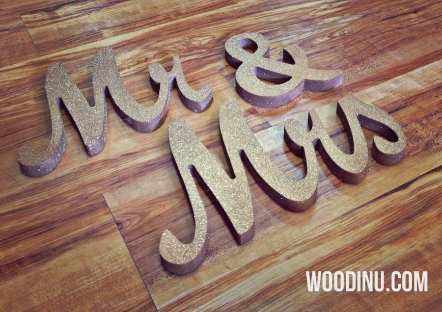 Gold Glitter Mr & Mrs Wedding Signs - Mr And Mrs Freestanding ...
