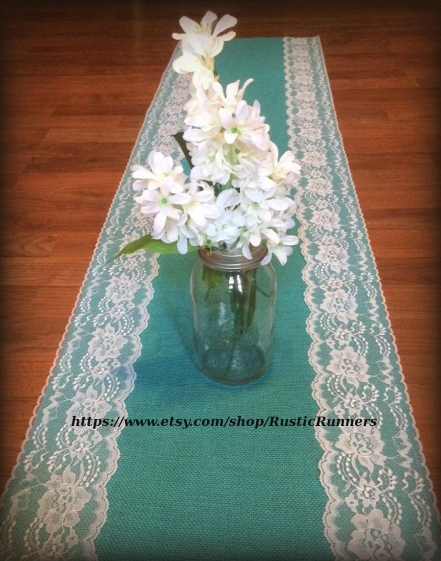 Mariage - Rustic Charm Wedding Teal Jade Turquoise Aqua Blue Burlap and White lace wedding table runner Shabby Chic wedding bridal shower party events