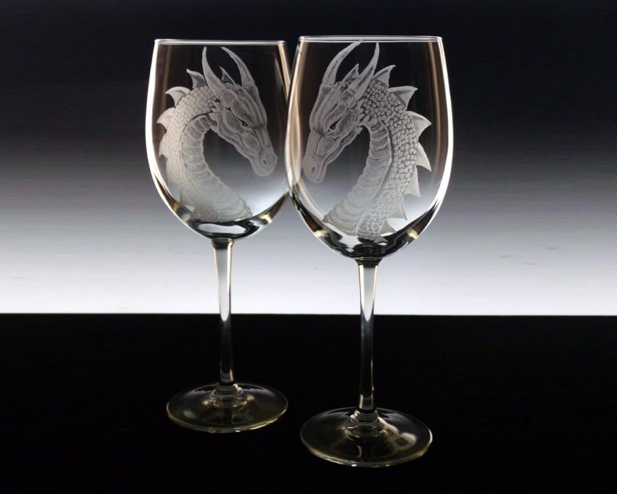Wedding - Wedding Glass Set - custom wine glass set dragons etched wine glasses personalised