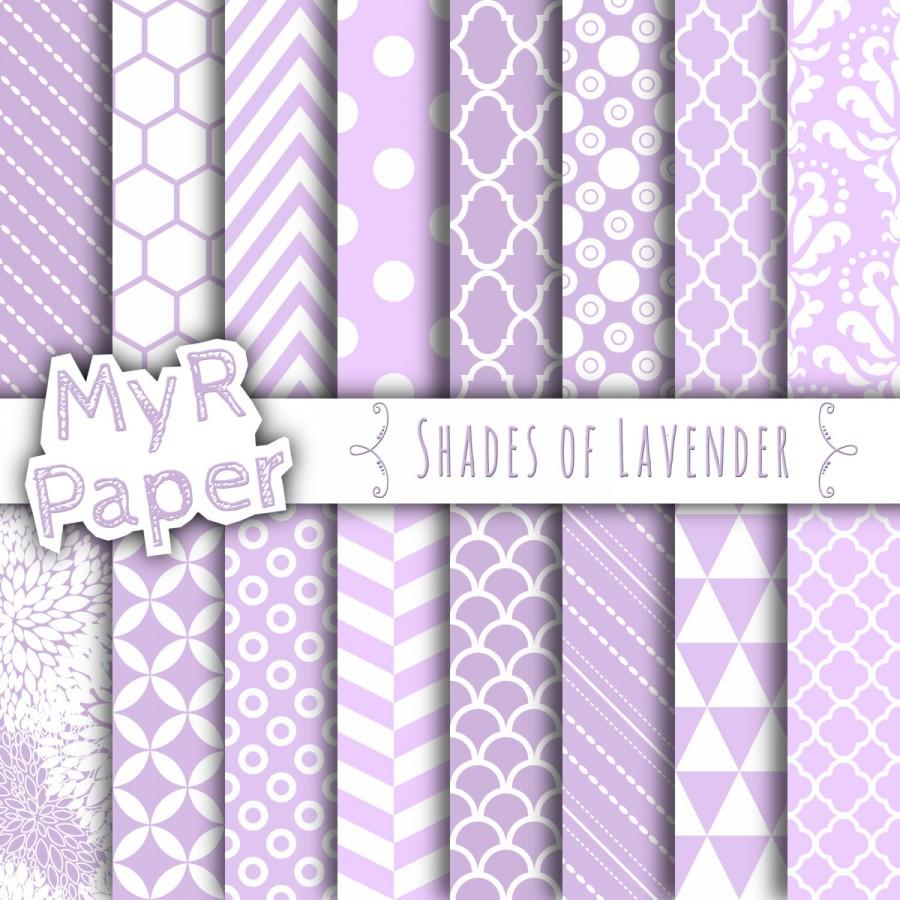 """Mariage - Lilac Digital Paper: """"Shades of Lavender"""" Digital Paper Pack and Backgrounds with Chevron, Damask, Triangles, Stripes and Polka Dots"""