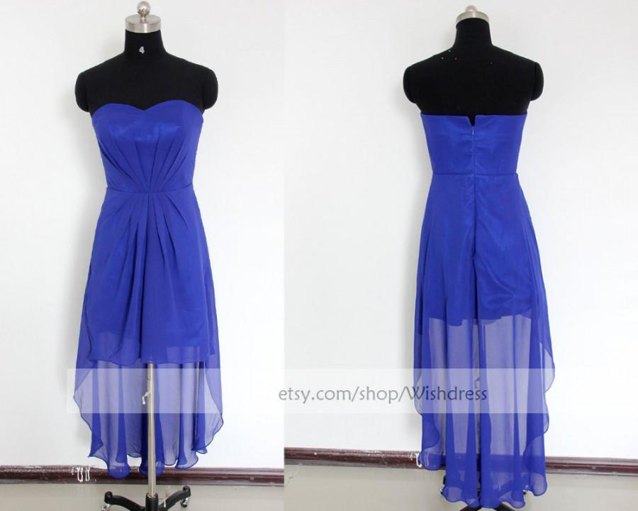 New Arrival High Low Prom Dress Royal Blue Bridesmaid Dress