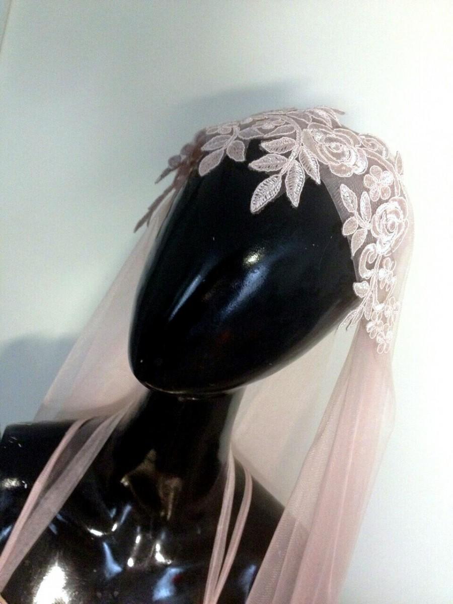 زفاف - free shipping! Powder Blush Juliet Cap veil, lace Veil, Beaded Veil, Wedding  soft tulle veil