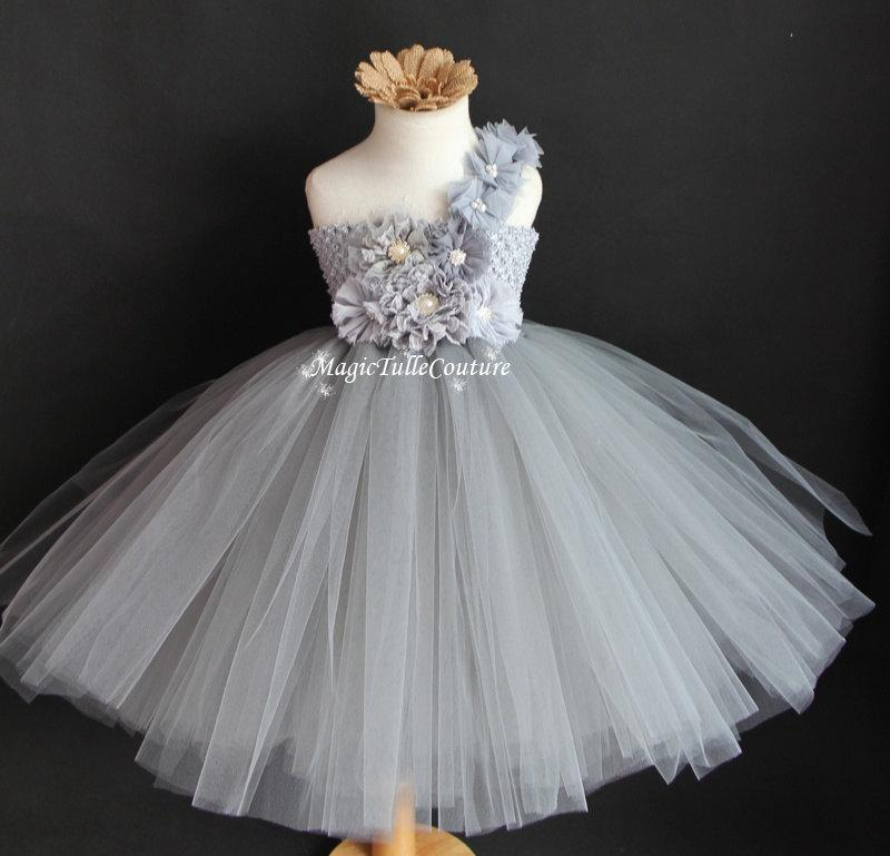 497a0e4ea8e Mixed Grey and Silver Flower Girl Tutu Dress Tulle Dress Birthday Party Dress  Toddler Dress1t2t3t4t5t6t7t8t9t10t
