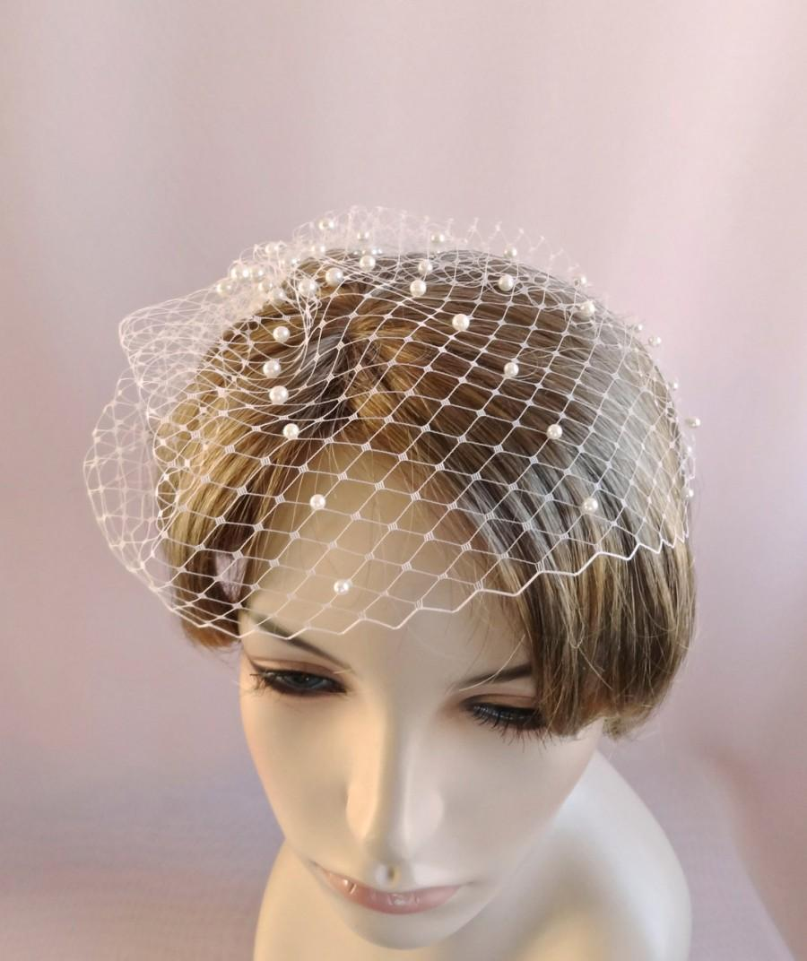 Mariage - bridal birdcage veil with pearls, wedding bird cage veil, wedding veil, Russian veiling, white ivory or champagne,  Style 633