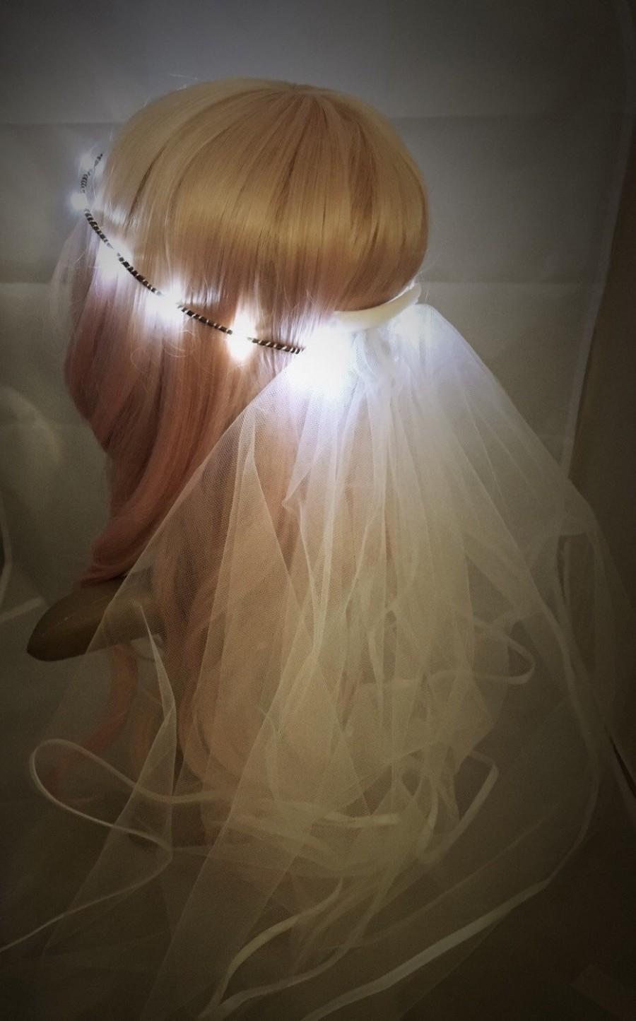 Hochzeit - Bridal Veil LED Crown, perfect for bachelorette parties, festival weddings, night ceremonies, wedding receptions, bridal gift