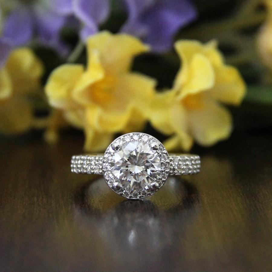 Mariage - 2.0 ct Halo Engagement Ring-Brilliant Cut Diamond Simulants-CZ Ring-Wedding Ring-Bridal Ring-Anniversary Ring-925 Sterling Silver-R21713