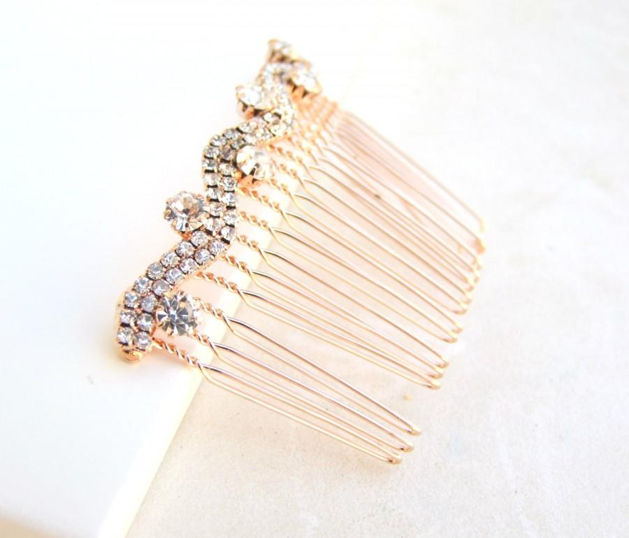 Wedding - Rose Gold Bridal hair comb, Crystal Wedding headpiece, Rose Gold headpiece, rystal hair comb, Vintage style headpiece