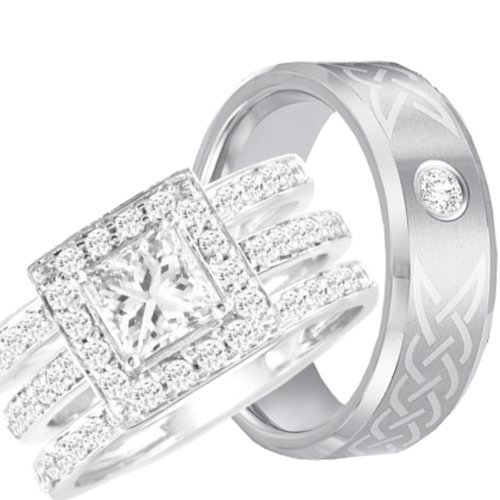 his hers halo 925 sterling silver tungsten engagement wedding