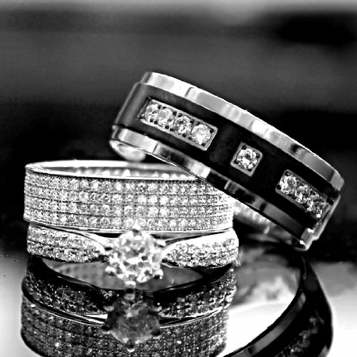 His Hers 3 Pieces 925 Sterling Silver Titanium Engagement