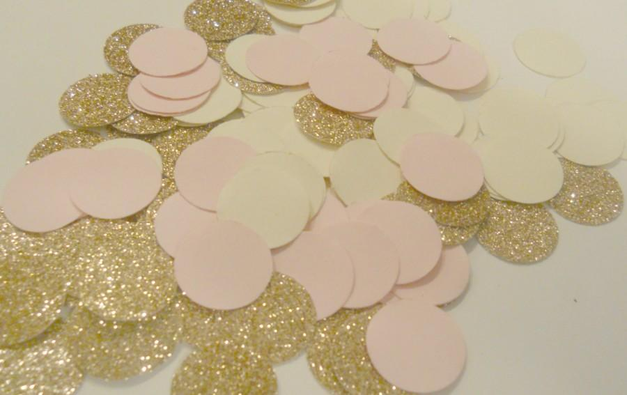 Mariage - 225 Rose Gold Blush Pink  Cream Confetti Glitter Confetti Wedding Confetti metallic confetti Table Confetti Invitation Bridal or Baby Shower