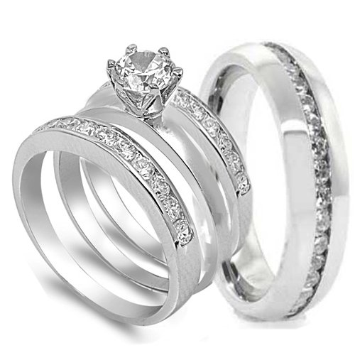 Superior 4 Pcs His And Hers STAINLESS STEEL Wedding Engagement Ring Set