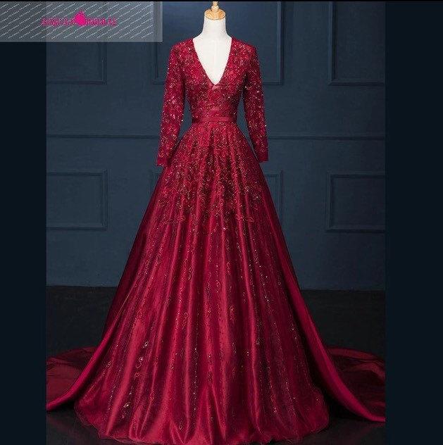 Ballgown prom dress V Neck A-Line Long Lace Evening Dress Beaded Long  Sleeve Floor Length Vestido De Festa Longo Madrinha BF26 c757a8aac