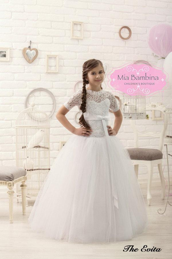fd5293cf01ce White Lace Flower Girl Dress First Communion Dress  2463940 - Weddbook
