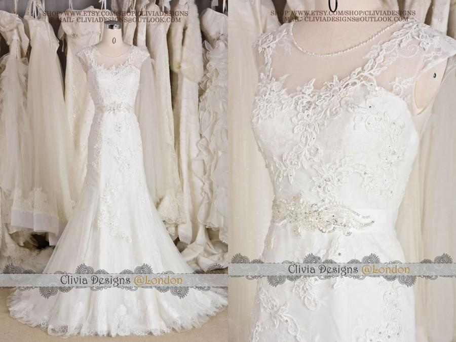 2016 Most Beautiful Vintage Lace Wedding Dress Illusion