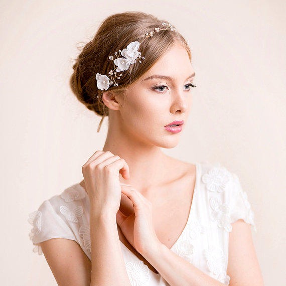 Wedding - Bridal Hair Vine - Crystal Hair Vine with Silk Flowers - Wedding Hair Vine - Bridal Vine - Floral Halo - Bridal Headband