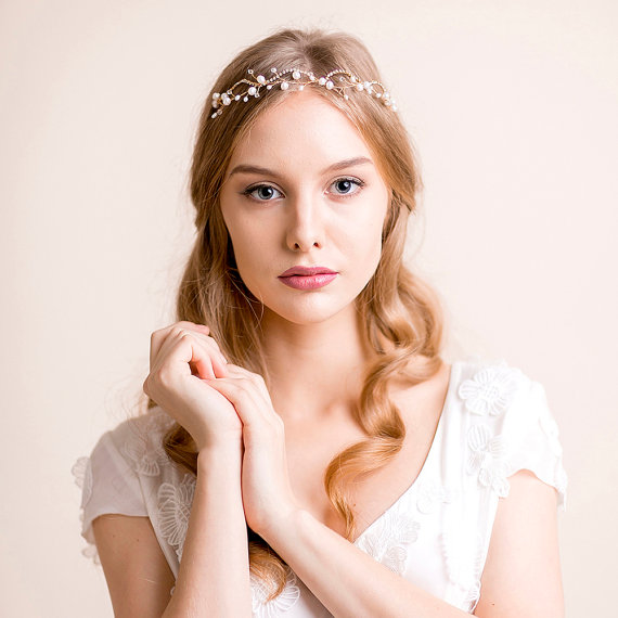 Wedding - Wedding Tiara of Pearl and Rhinestone - Bridal Tiara - Freshwater Pearl Tiara - Bridal Crown - Bridal Hair Accessories - Gold or Silver