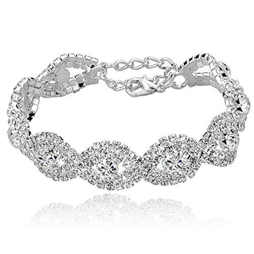 Hochzeit - Silver Plated Rhinestone Bracelet