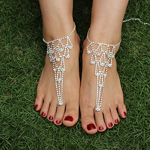 Wedding - 2 pc. Rhinestone Barefoot Sandals Wedding Jewelry