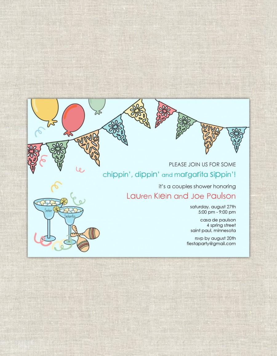 زفاف - Fiesta Bridal Shower Invitations, Mexican Themed Wedding Shower, Papel Picado, margaritas, turquoise, pastel, couples shower