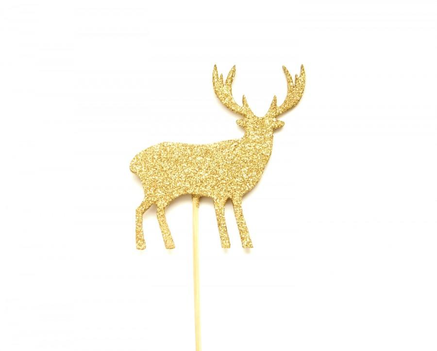 Gold Glitter Deer Cake Topper - Cake Bunting, Birthday, Wedding Cake ...