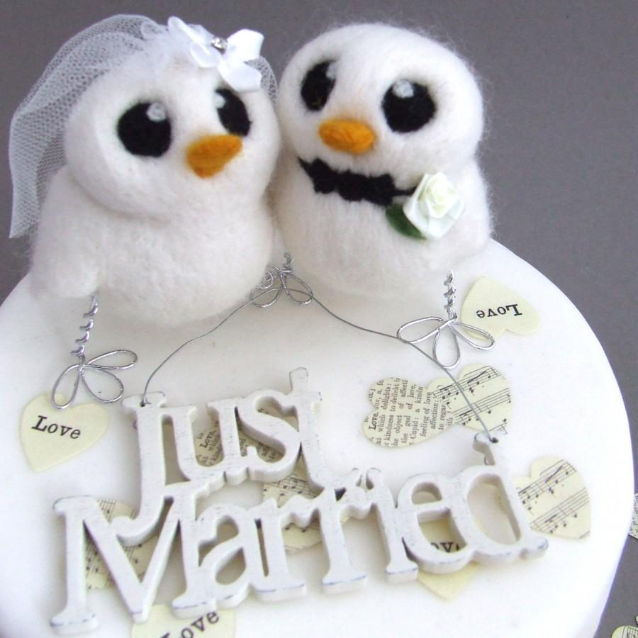 Love Birds Wedding Cake Topper White Wedding Bride And Groom Needle ...