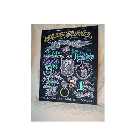 Mariage - Engagement Chalkboard Art Sign- Custom Engagement chalkboard - Sign in Color