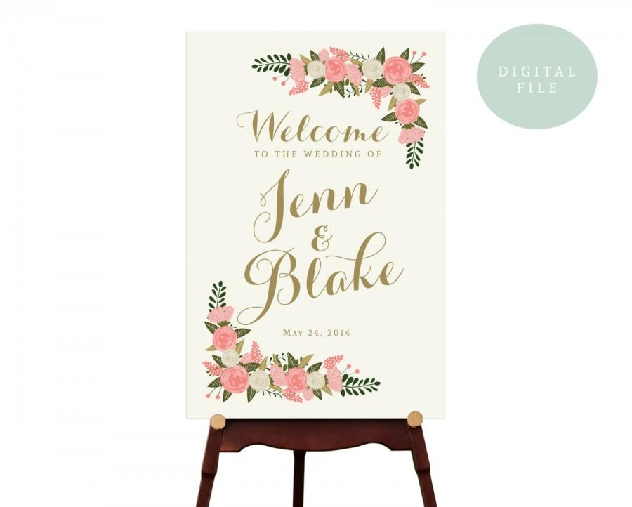 Printable Large Wedding Welcome Sign Vintage Reception Fl Digital
