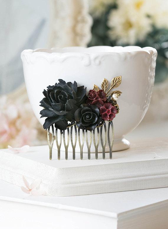 Black Rose Burgundy Dark Red Flowers Hair Comb Black Wedding Bridal ...