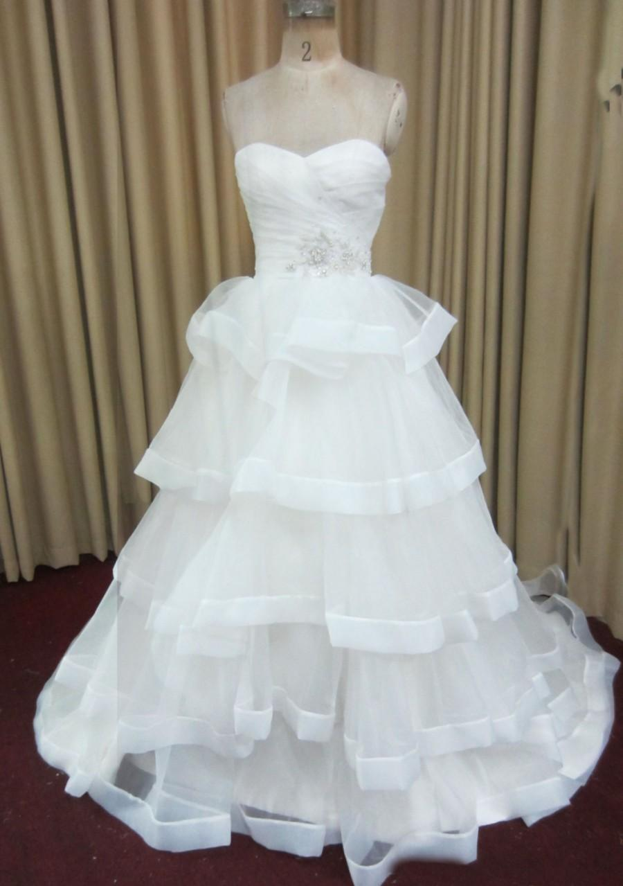 Layered Ruffled Organza With Horsehair Braid Ruched Sweetheart