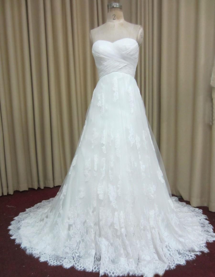 Criss Cross Ruched Chiffon Sweetheart Neckline Wedding Dress With ...