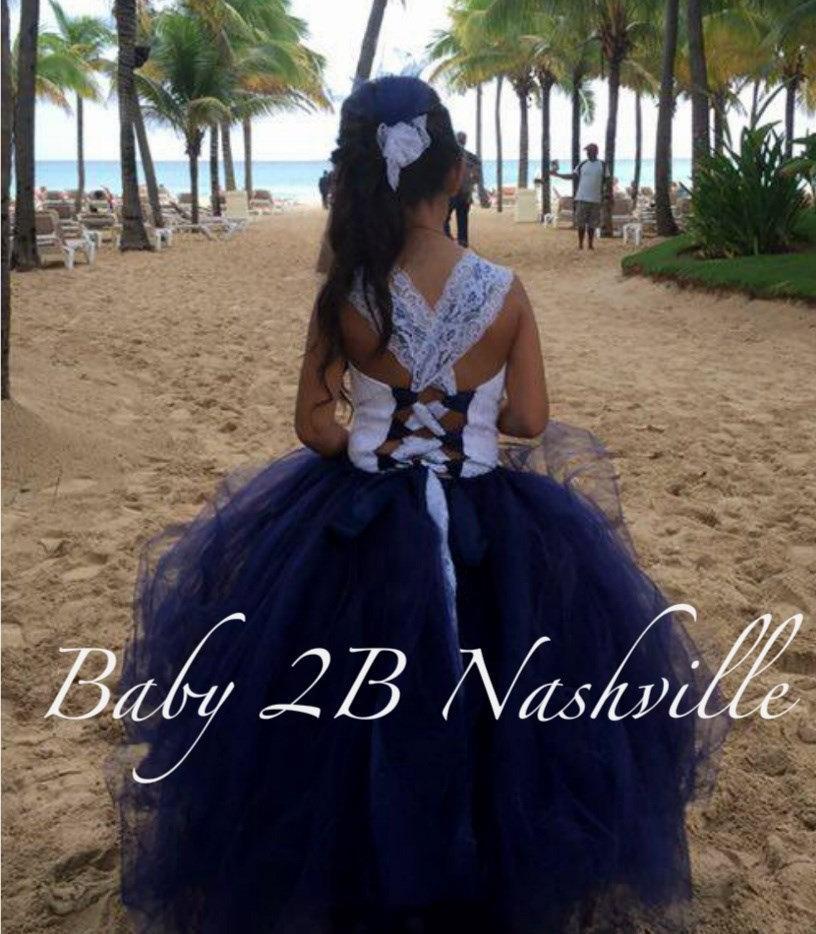 Hochzeit - Lace Flower Girl Dress Navy  Lace Tutu Dress  Beach Wedding Flower Girl Tutu   All Sizes Girls