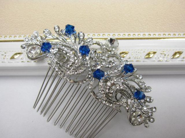 Something Blue Bridal Hair Comb Wedding Headpiece Accessory Jewelry