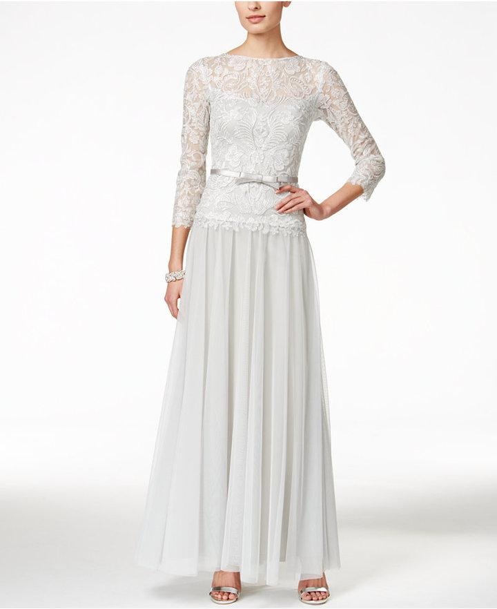 Tadashi Shoji Illusion Lace And Chiffon Gown #2464100 - Weddbook