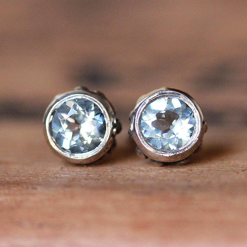 Mariage - Aquamarine stud earrings - March birthstone - sky blue- bezel stud- recycled sterling silver- post earring- wrought collection ready to ship