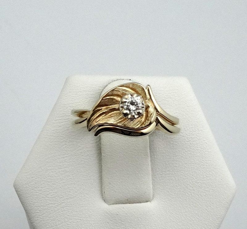 "Wedding - Vintage ""Leaf"" and Diamond 14K yellow Gold Bridal Set  -WS"