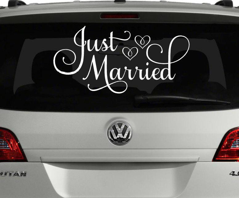 Свадьба - Just Married Car Decal, Just Married Sign for Car, Wedding Car Decoration, Wedding Car Decal, Custom Just Married Sign, Wedding Decoration