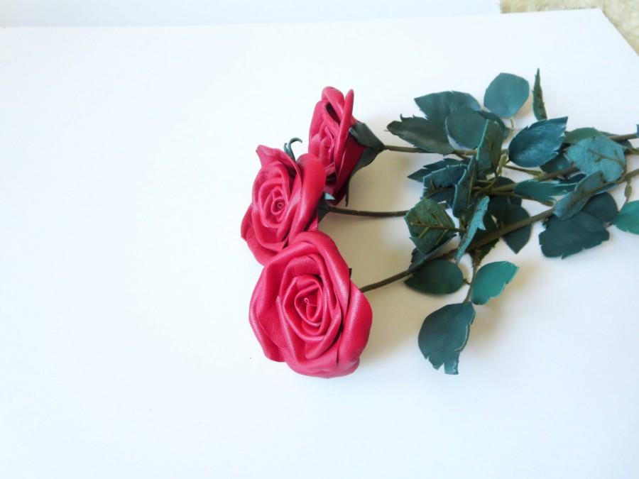 Classic Red Rose Single Stem Flower Leather Bouquet Wedding 3rd ...