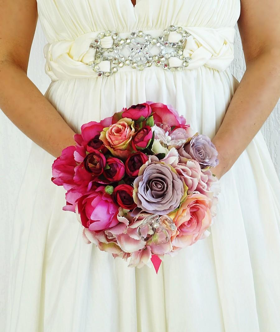 زفاف - Bridal bouquet pink Fuchsia Real touch flowers artificial wedding bridesmaids peonies ranunculus hydragenia garden roses ready to ship