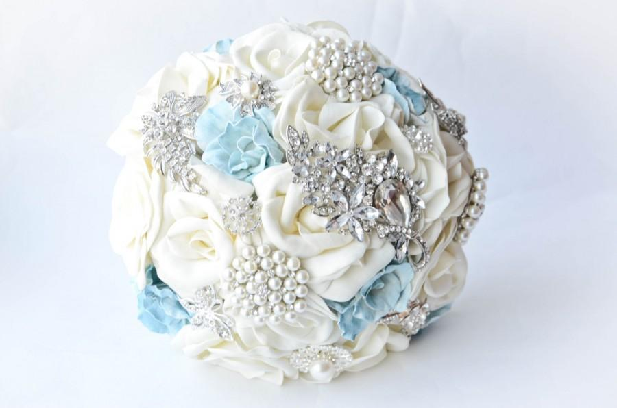 Mariage - Wedding Brooch Bouquet, Ivory and Blue, Wedding  Bouquet, Classic heirloom broach bouquet, bridal bouquet.