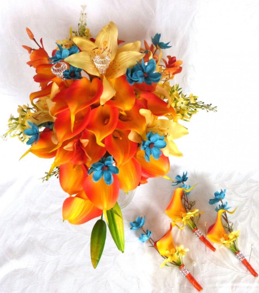 Mariage - Bright tropical destination bouquet 6 piece set Orange Calla lily wedding bouquet and boutonniere set