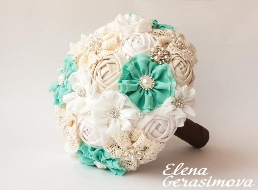 Свадьба - SALE!!! Brooch Bouquet. Ivory Mint Fabric Bouquet, Vintage Bouquet, Rustic Bouquet, Unique Wedding Bridal Bouquet